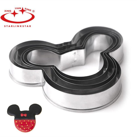 Image of 5 PCs/Set  Mickey cake mold Kitchen Bakeware Baking Tools  Biscuit Mickey  Cookie Cutter and Cookie Stamps
