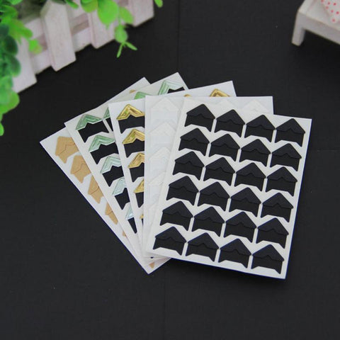 Image of 5 sheets corner with retro Kraft paper Photo Corner Photo Album corner 120 pcs Angle Diy Handmade scrapbook Decoration Sticker