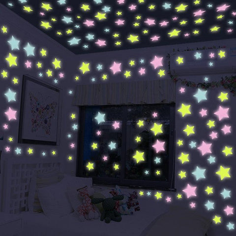 Image of 50PCS/bag 4.2cm Colorful Luminous Home Glow In The Dark Stars Wall Sticker Decal for Kids Baby Rooms Fluorescent Stickers Bigger