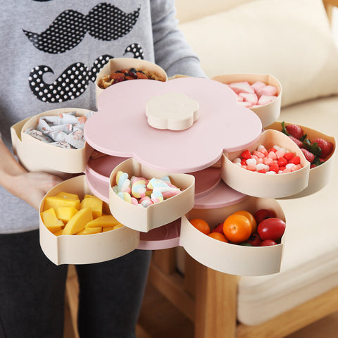 Petal-Shape Rotating Snack Box Candy Tray Food Storage Box Fruit Organizer Storage