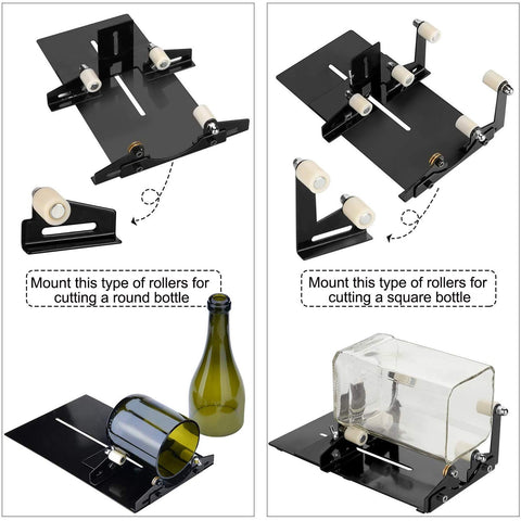 Glass Bottle Cutter Square and Round Wine Beer Glass Sculptures Cutter for DIY Glass Cutting Machine Metal Pad Bottle Holder