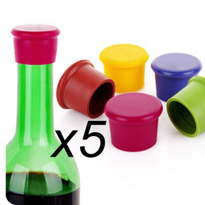 5pcs silicone wine stoppers Leak free wine bottle sealers for red wine and beer bottle cap