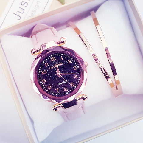 Quartz Wristwatches Fashion Starry Sky Women Watches  Leather Ladies Bracelet Watch