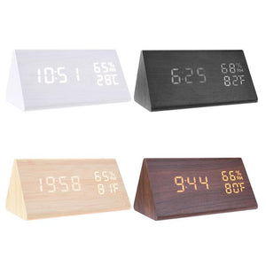 LED Alarm Clocks Sound Control Digital Clock Thermometer Timer Calendar Display Electronic Table Clock Home Decor