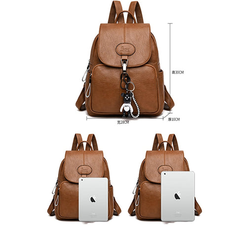 Image of Soft Backpack Female Pu Leather Vintage Ladies Backpack Youth Bagpack for Teenage Girls