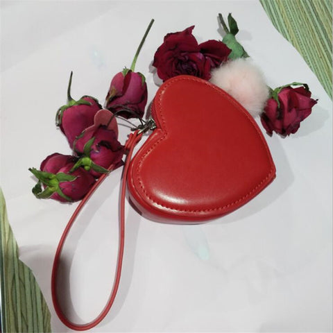 Small Wallet For Women Red Heart Organizer Coin Purse Fashion Leather Mini Clutch Bag Cute Student Money Purse