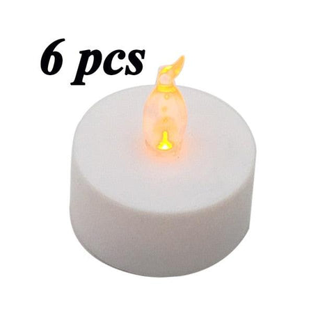 6pcs LED Candle Tea Light Battery Powered Lamp Simulation Color Flame Flashing Home Wedding Birthday Party Decoration Candles