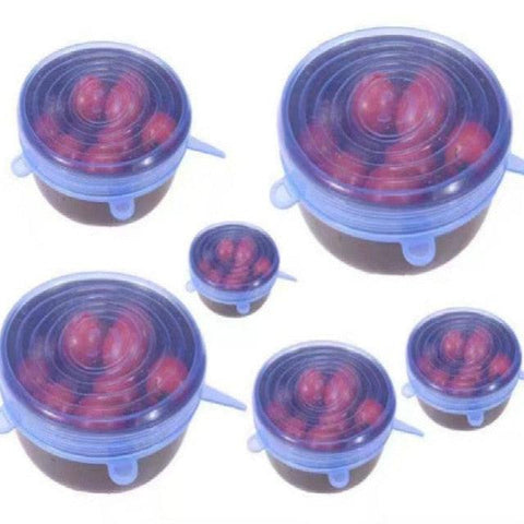 Image of 6pcs/set Silicone Lid Spill Stopper Cover Universal Silicone Suction Lid-bowl Pan Kitchen Tools Pan Lids Cover Stoppers Tools