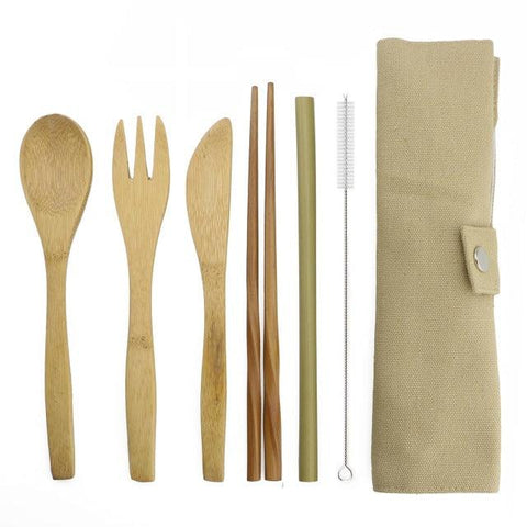 Image of 7-Piece Portable Japanese Wooden Dinnerware Cutlery Set Bamboo Straw Fork Knife With Cloth Bag Useful Travel Picnic Outdoor