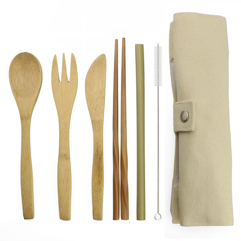 7-Piece Portable Japanese Wooden Dinnerware Cutlery Set Bamboo Straw Fork Knife With Cloth Bag Useful Travel Picnic Outdoor
