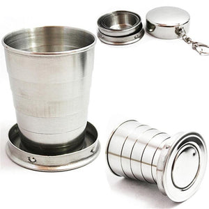 75ML Mini Stainless Steel Cup Portable Travel Folding Collapsible Cup Telescopic Wine Drinking Glasses for Home Kitchen Bar