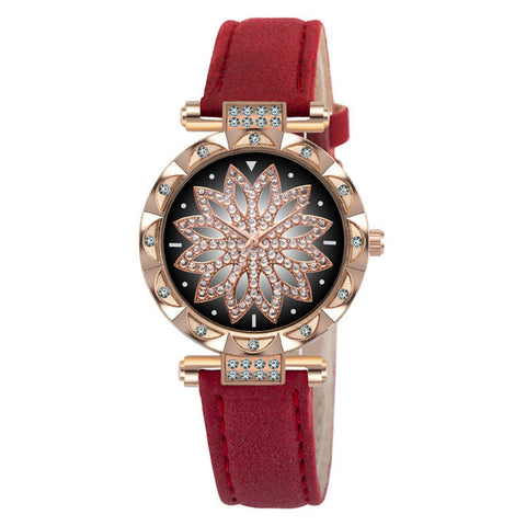 Fashion Leather Strap Watch Women Quartz Watch Romantic Starry Sky Wrist Watch Bracelet Set for Women Gift