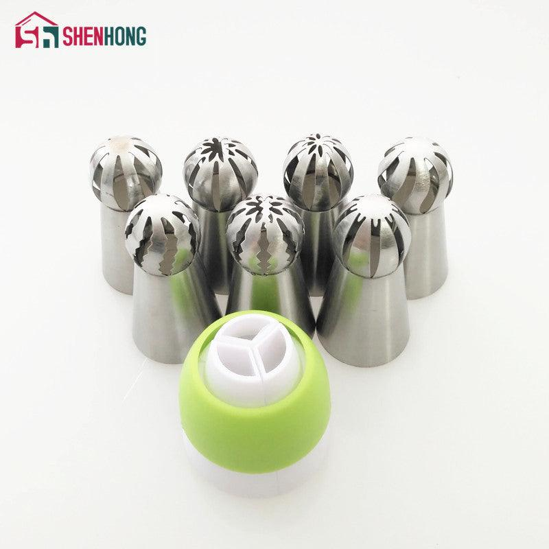 7PCS/Set Spherical Russian Piping Tips And Coupler Nozzle Tips Ball Nozzle Sphere Stainless Steel Icing Pastry Cupcake