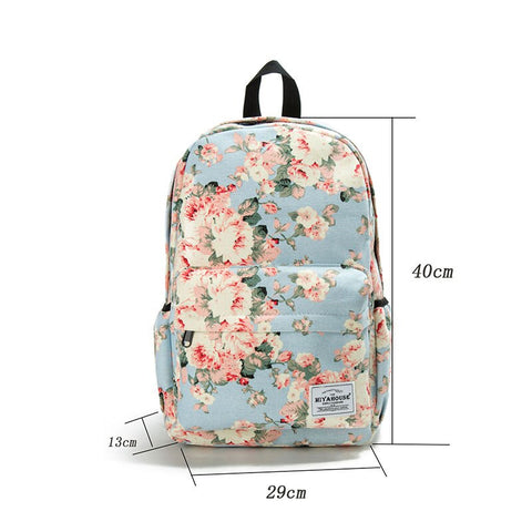 White Flower Women Backpack Junior High School Student Bookbags Outdoor Casual Bags Durable Waterproof Satchel