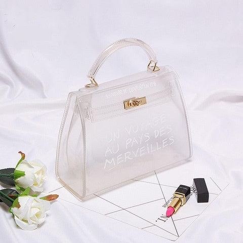 Image of Clear Transparent PVC Shoulder Bags Women Candy Color Women Jelly Bags Purse Solid Color Handbags