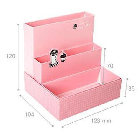 DIY Paper Board Makeup Cosmetic Storage Box Container Desk Decor Stationery Case Organizer Top