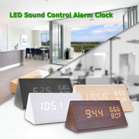 Image of LED Alarm Clocks Sound Control Digital Clock Thermometer Timer Calendar Display Electronic Table Clock Home Decor