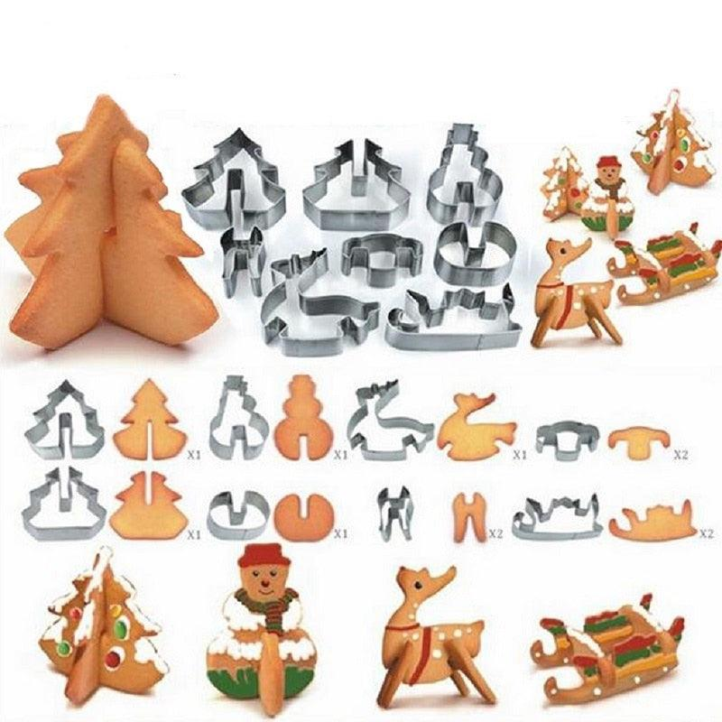 8pcs/set Stainless Steel 3D Christmas Cookie Cutters Cake Cookie Mold Fondant Cutter DIY Baking Tools