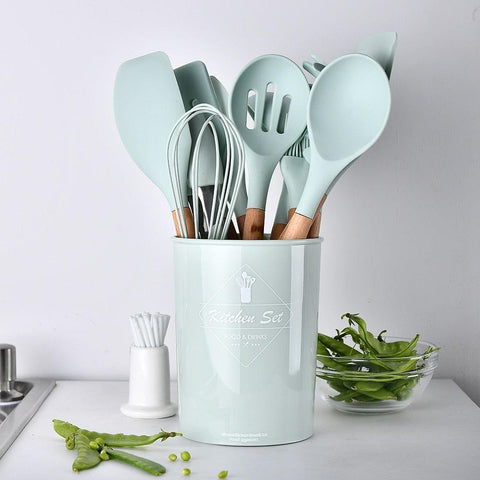9 or 12pcs Cooking Tools Set Premium Silicone Kitchen Cooking Utensils Set With Storage Box Turner Tongs Spatula Spoon