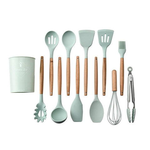 Image of 9 or 12pcs Cooking Tools Set Premium Silicone Kitchen Cooking Utensils Set With Storage Box Turner Tongs Spatula Spoon