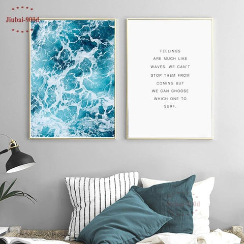 Image of 900D Posters And Prints Wall Art Canvas Painting Wall Pictures For Living Room Nordic Decoration Seascape NOR007