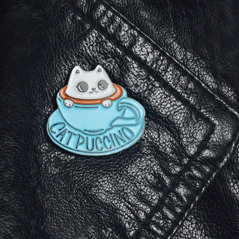 Image of Cat Coffee Enamel Pin Coffee Cup Brooch, Bag Clothes Lapel Pin Button Badge Cartoon Cute Animal Kids Gift