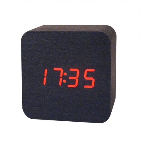 Mini Wooden LED Alarm Clocks Temperature Electronic Clock Sounds Control Digital LED Display Desktop Calendar Table Clock