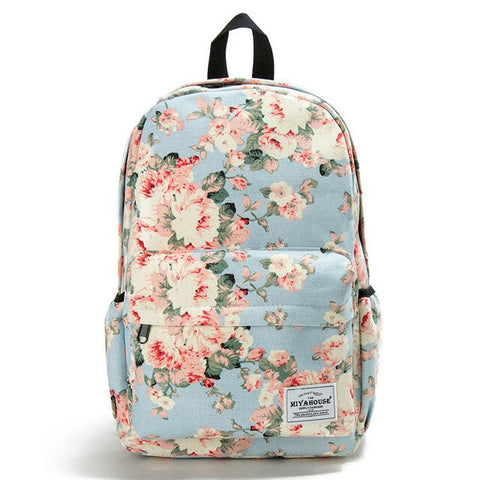 Image of White Flower Women Backpack Junior High School Student Bookbags Outdoor Casual Bags Durable Waterproof Satchel