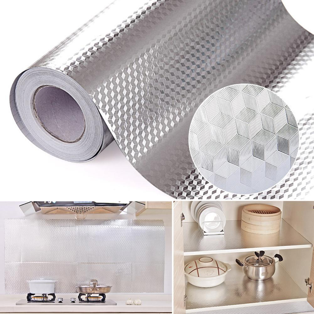 "Aluminum Foil Kitchen Stickers Maison Decoration Sticker Self Adhesive Waterproof Wallpaper For Furniture 16"" x 39.5"""