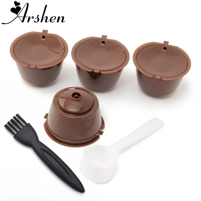 Arshen 4pcs Dolce Gusto Plsatic Refillable Coffee Capsule with Spoon Brush 200 Times Reusable Compatible Nescafe Dolce Gusto