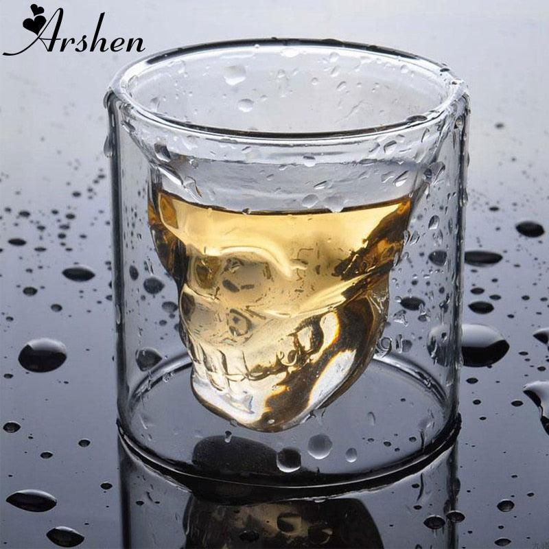 Arshen Creative 4 Size Double Wall Skull Shot Coffee Beer Cup Transparent Wine Whiskey Champagne Cocktails Drinkware Party Gift