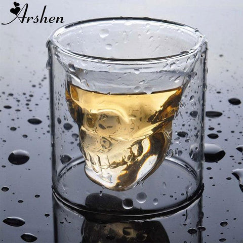 Image of Arshen Creative 4 Size Double Wall Skull Shot Coffee Beer Cup Transparent Wine Whiskey Champagne Cocktails Drinkware Party Gift