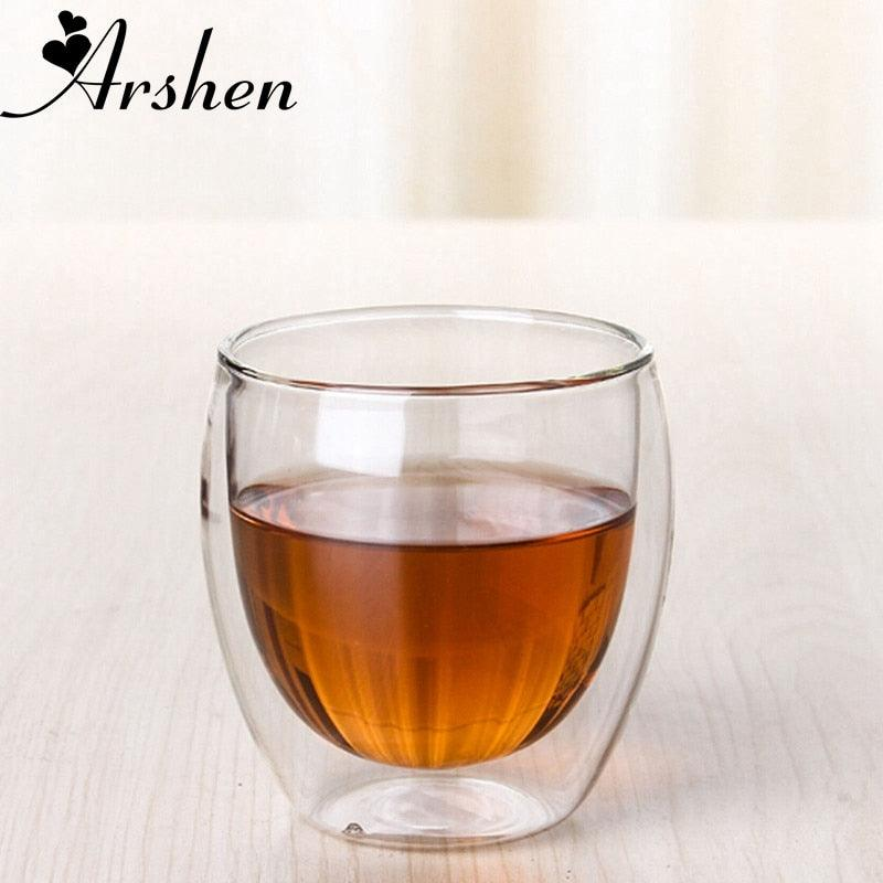 Arshen New Technology 80ml Clear Double Wall Double Glassware Coffee Tea Cups Glassware Milk Beer Soup And Insulated Wine Cups