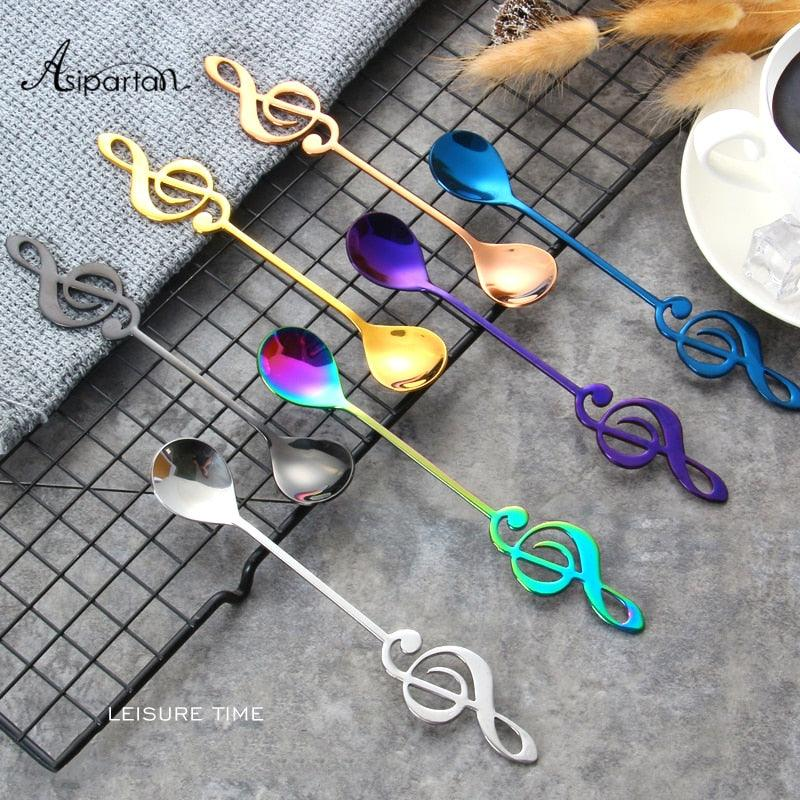 Asipartan 7Pcs/Set Creative Musical Note Spoon Coffee Stirring Scoop Stainless Steel Milk Tea Coffee Spoon Drink Cafe Spoon