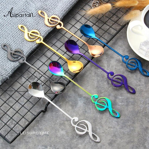 Image of Asipartan 7Pcs/Set Creative Musical Note Spoon Coffee Stirring Scoop Stainless Steel Milk Tea Coffee Spoon Drink Cafe Spoon
