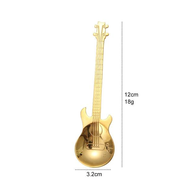 Asipartan Creative Guitar Shape Spoons Rainbow Stainless Steel Coffee Stirring Scoops For Dessert Tea Ice Cream Kitchen Bar Cafe