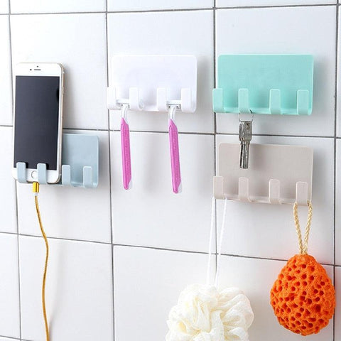 Image of Creative Men Razor Shelf Bathroom 4 Hook Storage Rack Wall Mounted Shaver Holder Kitchen Cabinet Organizer Phone Charging Rack