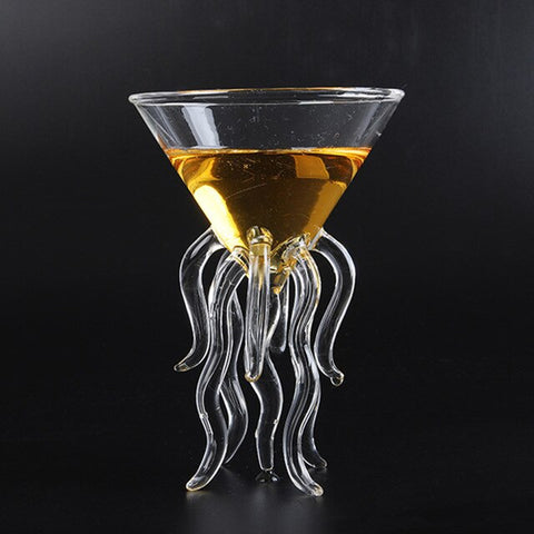 Octopus Cocktail Glass Transparent Jellyfish Glass Cup Juice Glass Goblet Conical Wine Champagne Glass