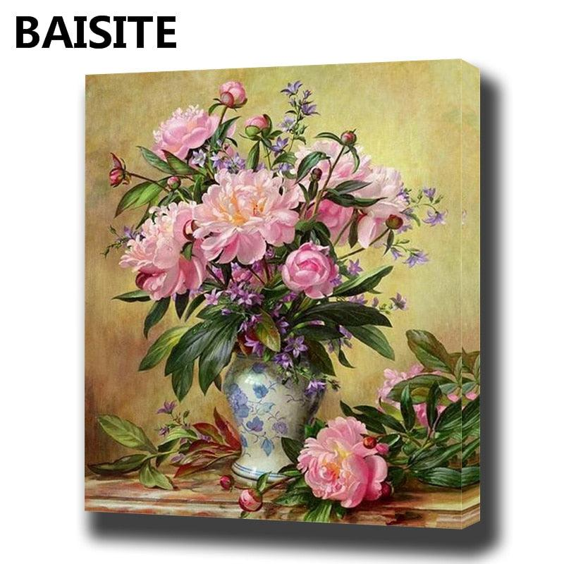 BAISITE DIY Framed Oil Painting By Numbers Flowers Pictures Canvas Painting For Living Room Wall Art Home Decor E939