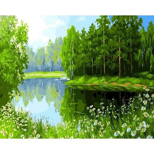 BAISITE DIY Framed Oil Painting By Numbers Landscape Pictures Canvas Painting For Living Room Wall Art Home Decor H340
