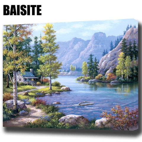 Image of BAISITE DIY Framed Oil Painting By Numbers Landscape Pictures Canvas Painting For Living Room Wall Art Home Decor E769