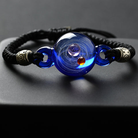 Universe Planets Glass Bead Bangles & Bracelets Fashion Jewelry Galaxy Solar System Bracelet For Women
