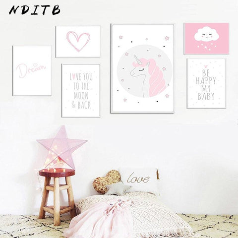 Image of Baby Girl Nursery Wall Art Canvas Painting Pink Unicorn Cartoon Posters and Prints Nordic Kids Decoration Pictures Bedroom Decor