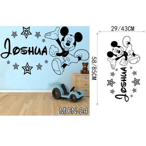 Baby Mickey Mouse Warm Custom Name Wall Stickers Decal girls Boys Kids Room Wall Personalized Name Nursery Decoration
