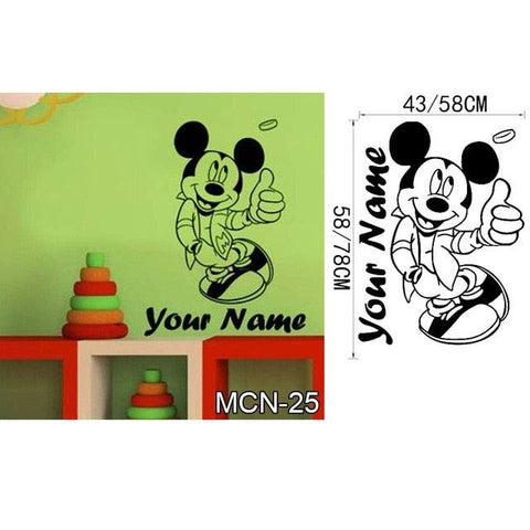 Image of Baby Mickey Mouse Warm Custom Name Wall Stickers Decal girls Boys Kids Room Wall Personalized Name Nursery Decoration