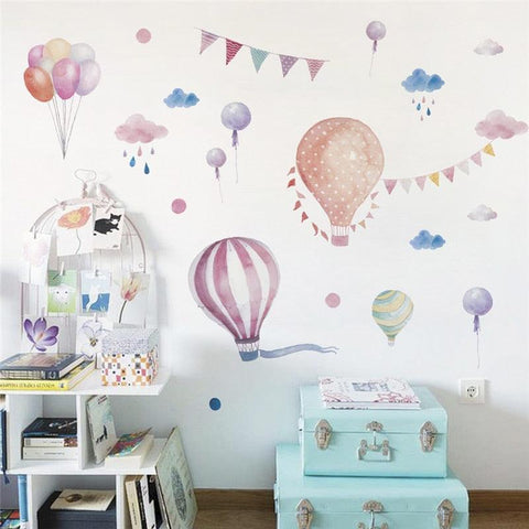 Image of Balloons Flag Animals Rain Car wall stickers For kids rooms decals children bedroom kindergarten Decoration wall sticker Decals