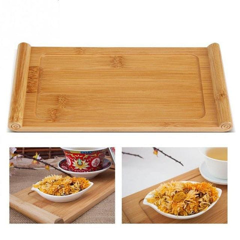 Image of Bamboo Tea Tray Cup Plate Food Dessert Serving Tray Traditional Bamboo Tea Tray Elegant Chinese Style Tea Table