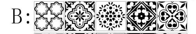 Black And White Nordic Style Retro Tile Sticker 20*100cm PVC Bathroom Kitchen Waterproof Wall Sticker Home Decor Floor Art Mural