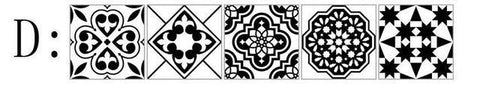 Image of Black And White Nordic Style Retro Tile Sticker 20*100cm PVC Bathroom Kitchen Waterproof Wall Sticker Home Decor Floor Art Mural