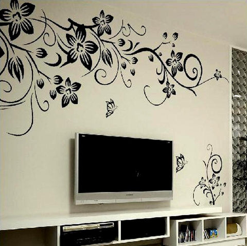 Image of Black Flower Vine Wall stickers home decor large paper flowers living room bedroom wall decor sticker on the wallpaper